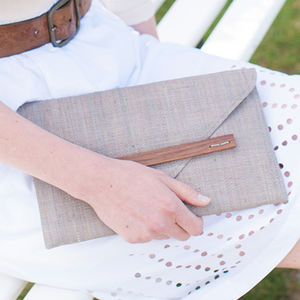 'Java' Raffia Envelope Clutch