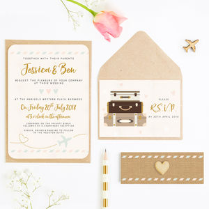 Travel Pastel Plane And Suitcases Wedding Invite Bundle