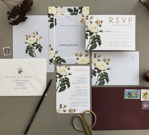 French Grey Botanical Wedding Invitation Set - reply & rsvp cards