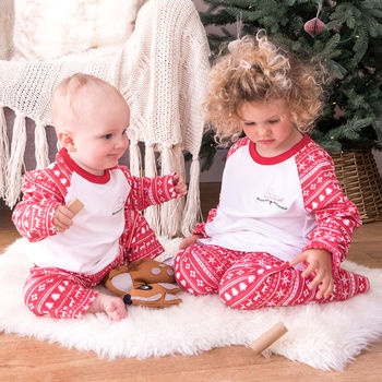 Personalised Embroidered Christmas Children's Pyjamas