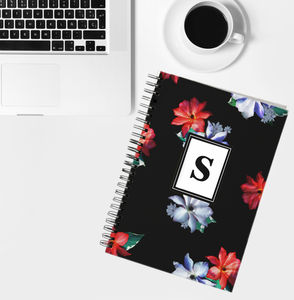 Personalised Initial Notebook Gracious Clematis Print