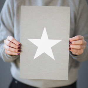 'Grey And White Star' Small Print - whatsnew