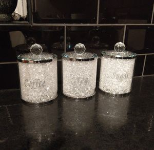 Tea Coffee Sugar Storage Jars With Swarovski Crystals By Diamond Affair Notonthehighstreet