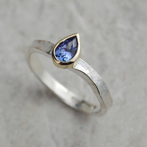 Solid Gold And Silver Birthstone Alice Tanzanite Ring