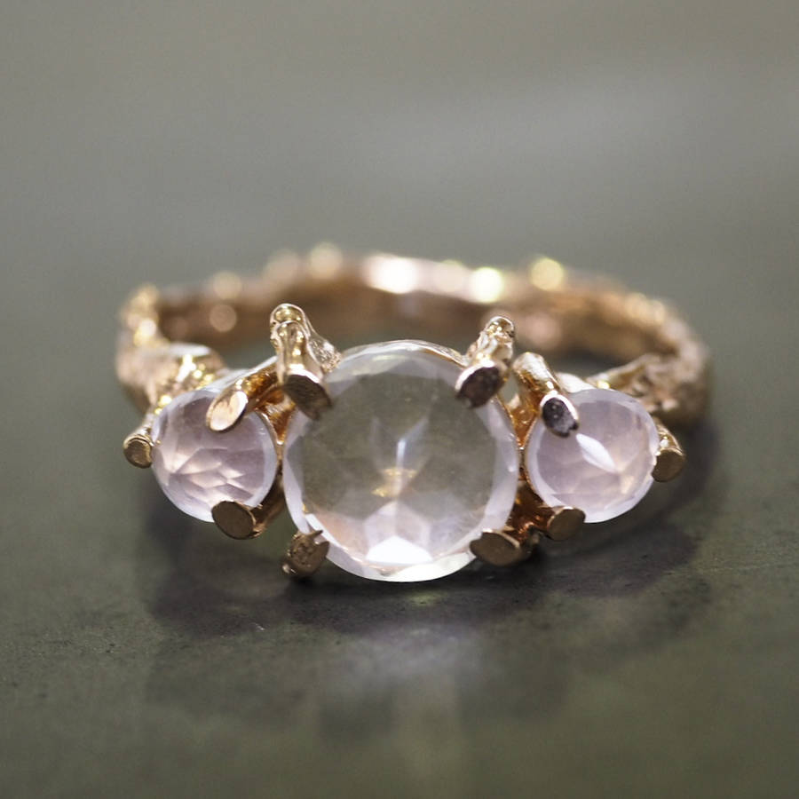 Fabulous tiny twinkle in the wild rose quartz ring in rose gold by chupi  JV77