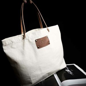 Natural Canvas Large Tote Bag With Leather Handles