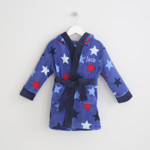 Personalised Blue Star Print Robe - bathtime