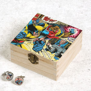 Personalised Superhero Comic Cufflinks And Box For Him - cufflink boxes & coin trays