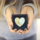 Map heart keepsake gift in a black frame
