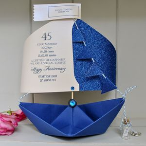 45th Sapphire Wedding Anniversary Paper Sail Boat Card - anniversary cards
