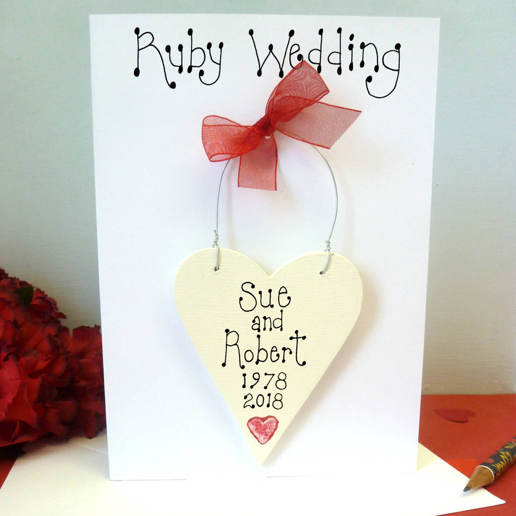 personalised ruby wedding card by country heart | notonthehighstreet.com
