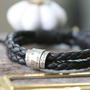 Personalised Mens Black Leather Scroll Tie Bracelet