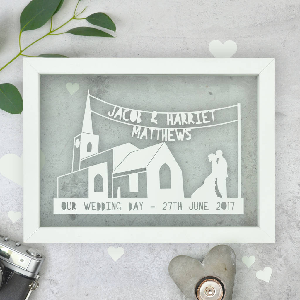 Personalised Wedding Anniversary Church Papercut