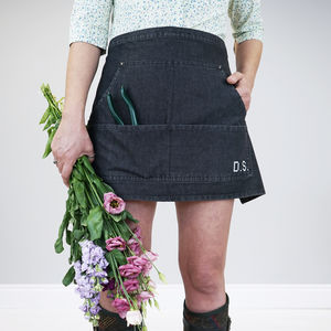 Personalised Cross Stitch Denim Gardening Apron