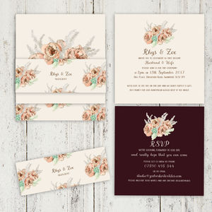 Vintage Floral Wedding Stationery Blush, Aubergine - new in wedding styling