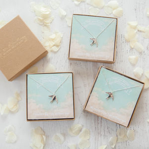 'Will You Be My Bridesmaid?' Swallow Necklace - be my bridesmaid?
