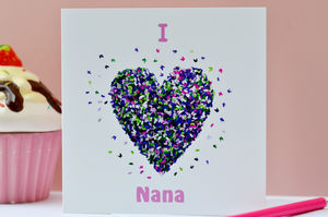 I Love Nana Butterfly Heart Card