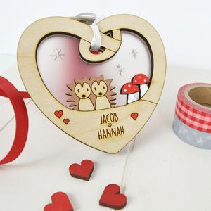Personalised Couples Valentine's Woodland Love Token - hanging decorations