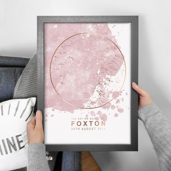 Pink Watercolour Blot Map of the Stars