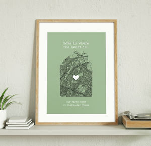 Our First Home Personalised Map Print - maps & locations