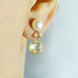 Citrine And Pearl Drop Earrings
