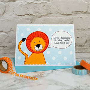 'Lion' Personalised Birthday Card From Children