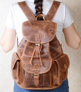 Classic Vintage Look Genuine Leather Backpack - men's accessories