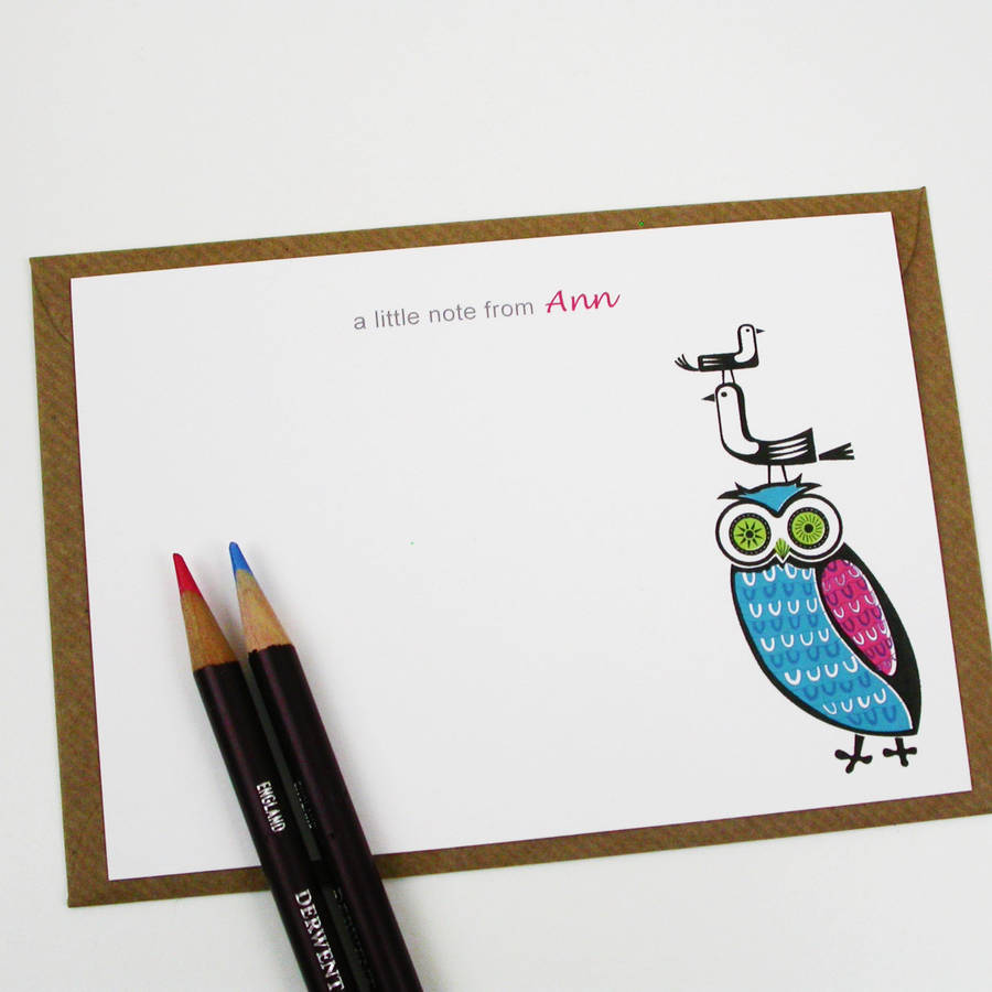 Personalised Owl And Birds Notecards