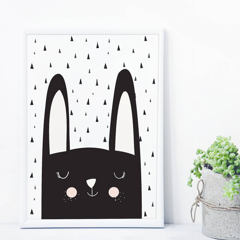 Bunny Monochrome Scandinavian Kids Nursery Art Print