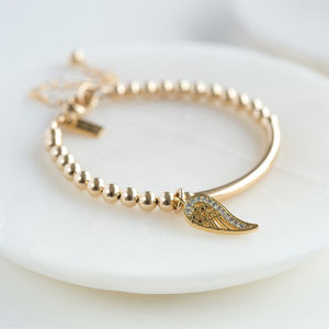 Gold Wing Christening Bracelet - more