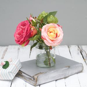 Apricot And Pink Faux Flower Bouquet - flowers, plants & vases