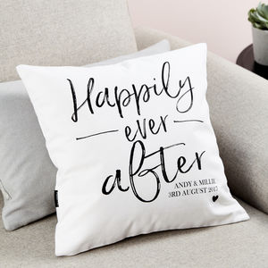 Personalised Engagement Gift Cushion - modern calligraphy for weddings