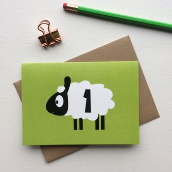 Sheep First Birthday Card