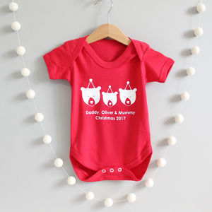 Christmas Bear Family, Personalised Baby Grow Or Romper