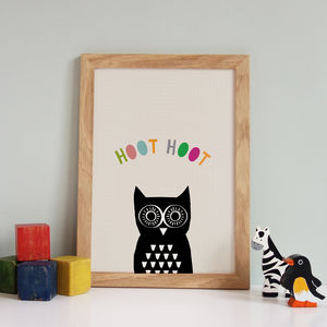 Peekaboo Owl Print, Children's Art Picture