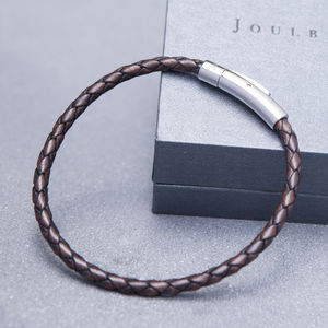 Mocha Mens Slim Plaited Leather Bracelet