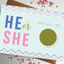 Scratch Off Baby Gender Announcement Card He Or She