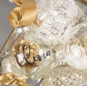 Personalised Glitter Calligraphy Glass Bauble - view all decorations