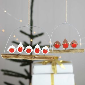Jolly Christmas Robins On A Branch - tree decorations