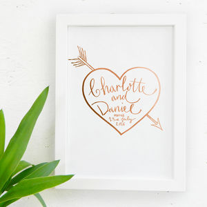 Personalised Wedding Gift Heart Print - family & home