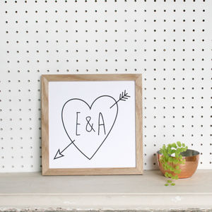 Personalised Framed Initial Cupid Arrow Print - whatsnew