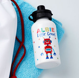 Boys Personalised Robot Water Bottle