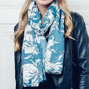 Aqua And Cream Floral Print Scarf