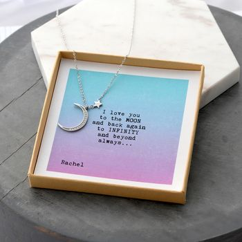 'To The Moon And Back' Moon Or Infinity Necklaces