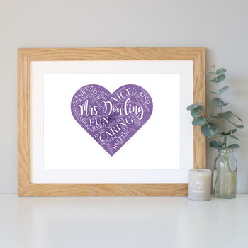 Purple watercolour with oak frame
