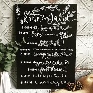 Personalised Order Of The Day Wedding Chalkboard - outdoor wedding signs