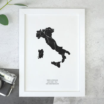 Personalised Black Marble Destination Papercut Print