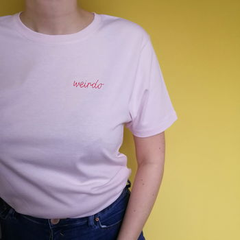 Personalised Hand Embroidered Pink Unisex T Shirt