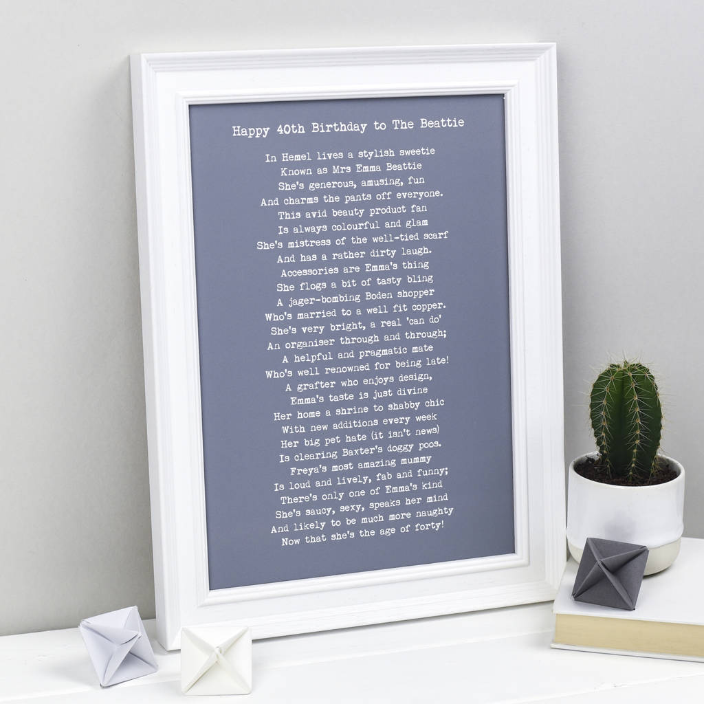 Personalised Poem For A Friend Bespoke Verse