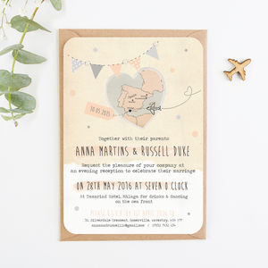 Bunting Map Pearl Evening Invitation - engagement & wedding invitations